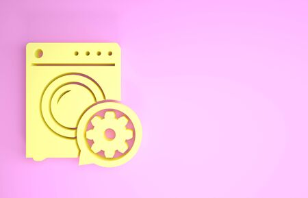 Yellow Washer and gear icon isolated on pink background. Adjusting app, service concept, setting options, maintenance, repair, fixing. Minimalism concept. 3d illustration 3D render