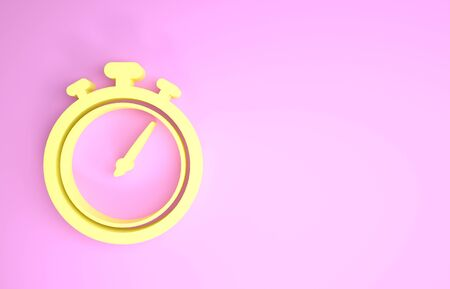 Yellow Stopwatch icon isolated on pink background. Time timer sign. Chronometer sign. Minimalism concept. 3d illustration 3D render Stock Photo
