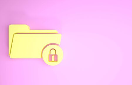 Yellow Folder and lock icon isolated on pink background. Closed folder and padlock. Security, safety, protection concept. Minimalism concept. 3d illustration 3D render Stock fotó - 134575566