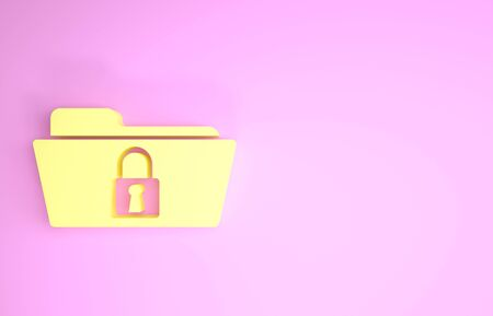 Yellow Folder and lock icon isolated on pink background. Closed folder and padlock. Security, safety, protection concept. Minimalism concept. 3d illustration 3D render Stock fotó - 134575570