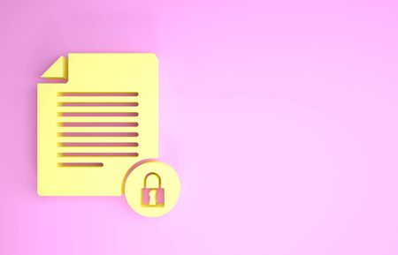 Yellow Document and lock icon isolated on pink background. File format and padlock. Security, safety, protection concept. Minimalism concept. 3d illustration 3D render Stock fotó - 134575568
