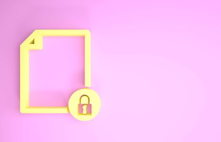Yellow Document and lock icon isolated on pink background. File format and padlock. Security, safety, protection concept. Minimalism concept. 3d illustration 3D render Stock fotó - 134575576
