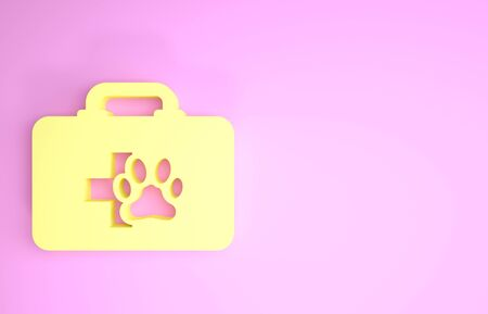 Yellow Pet first aid kit icon isolated on pink background. Dog or cat paw print. Clinic box. Minimalism concept. 3d illustration 3D render Zdjęcie Seryjne - 134575619