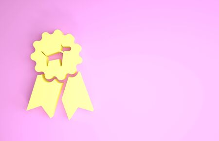 Yellow Dog award symbol icon isolated on pink background. Medal with dog footprint as pets exhibition winner concept. Minimalism concept. 3d illustration 3D render