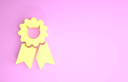 Yellow Cat award symbol icon isolated on pink background. Medal with cat footprint as pets exhibition winner concept. Minimalism concept. 3d illustration 3D render