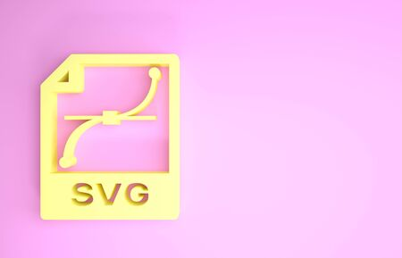 Yellow SVG file document. Download svg button icon isolated on pink background. SVG file symbol. Minimalism concept. 3d illustration 3D render