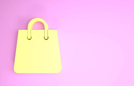 Yellow Handbag icon isolated on pink background. Shoping bag sign. Woman bag icon. Female handbag sign. Glamour casual baggage. Minimalism concept. 3d illustration 3D render Stok Fotoğraf