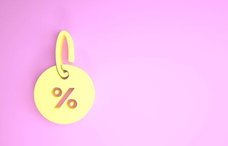 Yellow Discount percent tag icon isolated on pink background. Shopping tag sign. Special offer sign. Discount coupons symbol. Minimalism concept. 3d illustration 3D render