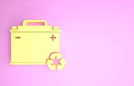 Yellow Car battery with recycle icon isolated on pink background. Accumulator battery energy power and electricity accumulator battery. Minimalism concept. 3d illustration 3D render