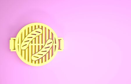 Yellow Barbecue grill with sausage icon isolated on pink background. BBQ grill party. Minimalism concept. 3d illustration 3D render Stock Photo