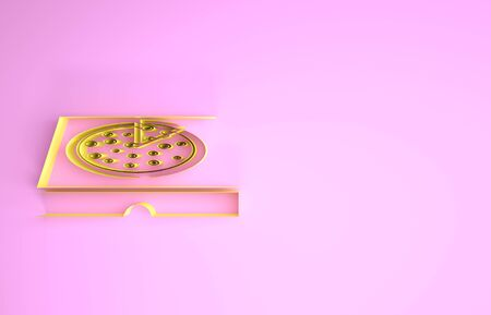 Yellow Pizza in cardboard box icon isolated on pink background. Box with layout elements. Minimalism concept. 3d illustration 3D render