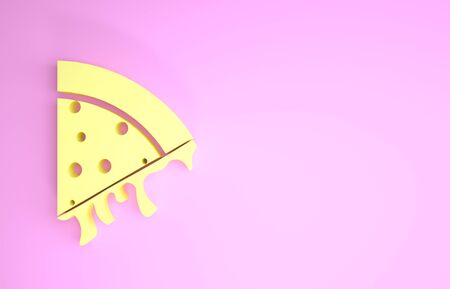 Yellow Slice of pizza icon isolated on pink background. Minimalism concept. 3d illustration 3D render Фото со стока
