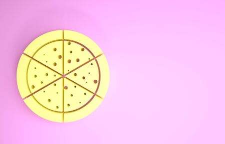 Yellow Pizza icon isolated on pink background. Minimalism concept. 3d illustration 3D render