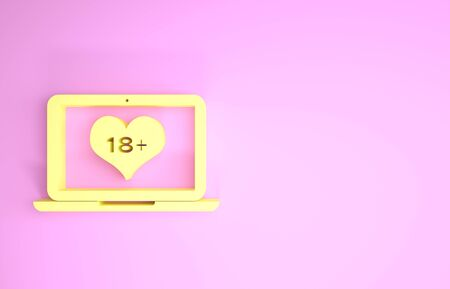 Yellow Laptop computer with 18 plus content heart icon isolated on pink background. Age restriction symbol. 18 plus content sign. Adult channel. Minimalism concept. 3d illustration 3D render