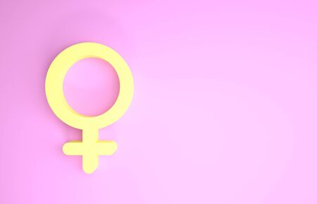 Yellow Female gender symbol icon isolated on pink background. Venus symbol. The symbol for a female organism or woman. Minimalism concept. 3d illustration 3D render Stok Fotoğraf