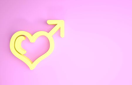 Yellow Male gender symbol and heart icon isolated on pink background. Minimalism concept. 3d illustration 3D render Standard-Bild - 134578454
