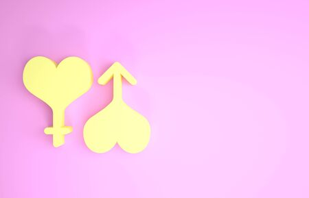 Yellow Male and female symbol heart icon isolated on pink background. Gender symbol. Minimalism concept. 3d illustration 3D render