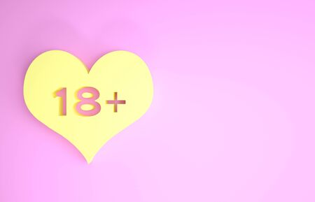 Yellow 18 plus content heart icon isolated on pink background. Adults content only icon. Minimalism concept. 3d illustration 3D render