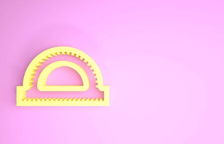 Yellow Protractor grid for measuring degrees icon isolated on pink background. Tilt angle meter. Measuring tool. Geometric symbol. Minimalism concept. 3d illustration 3D render 版權商用圖片