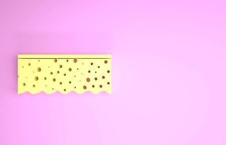 Yellow Sponge with bubbles icon isolated on pink background. Wisp of bast for washing dishes. Cleaning service logo. Minimalism concept. 3d illustration 3D render