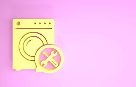 Yellow Washer with screwdriver and wrench icon isolated on pink background. Adjusting, service, setting, maintenance, repair, fixing. Minimalism concept. 3d illustration 3D render