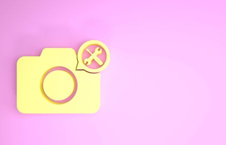 Yellow Photo camera with screwdriver and wrench icon isolated on pink background. Adjusting, service, setting, maintenance, repair, fixing. Minimalism concept. 3d illustration 3D render