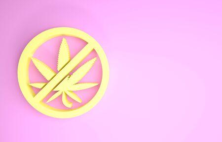 Yellow Stop marijuana or cannabis leaf icon isolated on pink background. No smoking marijuana. Hemp symbol. Minimalism concept. 3d illustration 3D render