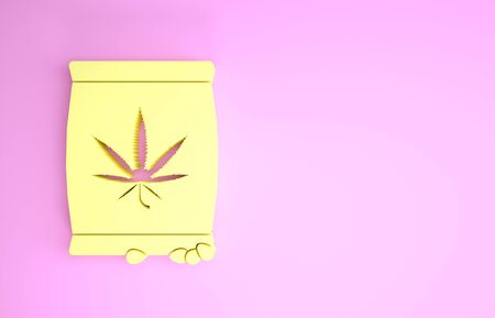 Yellow Marijuana or cannabis seeds in a bag icon isolated on pink background. Hemp symbol. The process of planting marijuana. Minimalism concept. 3d illustration 3D render