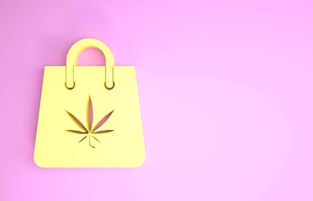 Yellow Shopping paper bag of medical marijuana or cannabis leaf icon isolated on pink background. Buying cannabis. Hemp symbol. Minimalism concept. 3d illustration 3D render