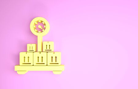 Yellow Scale with cardboard box icon isolated on pink background. Logistic and delivery. Weight of delivery package on a scale. Minimalism concept. 3d illustration 3D render Stock fotó