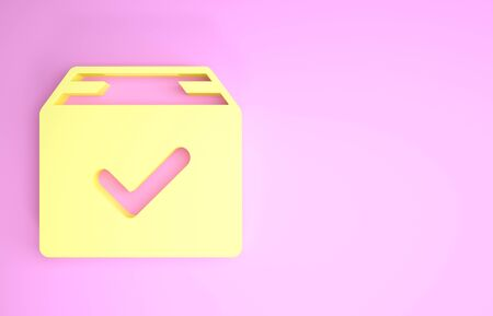 Yellow Package box with check mark icon isolated on pink background. Parcel box with checkmark. Approved delivery or successful package receipt. Minimalism concept. 3d illustration 3D render