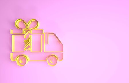 Yellow Delivery truck with gift icon isolated on pink background. Minimalism concept. 3d illustration 3D render Stockfoto