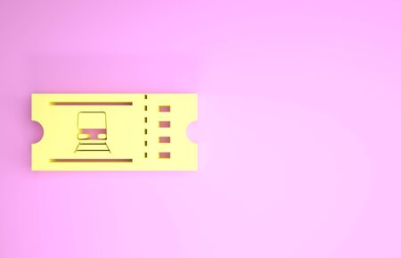 Yellow Train ticket icon isolated on pink background. Travel by railway. Minimalism concept. 3d illustration 3D render