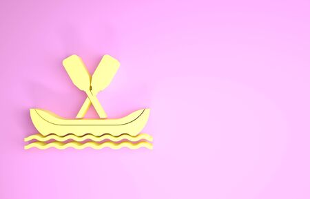 Yellow Rafting boat icon isolated on pink background. Kayak with paddles. Water sports, extreme sports, holiday, vacation, team building. Minimalism concept. 3d illustration 3D render