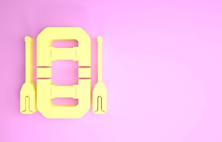 Yellow Rafting boat icon isolated on pink background. Inflatable boat with oars. Water sports, extreme sports, holiday, vacation, team building. Minimalism concept. 3d illustration 3D render