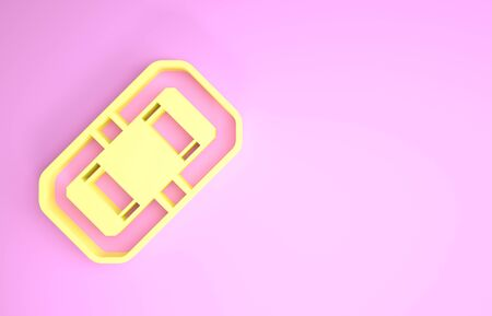 Yellow Rafting boat icon isolated on pink background. Inflatable boat. Water sports, extreme sports, holiday, vacation, team building. Minimalism concept. 3d illustration 3D render