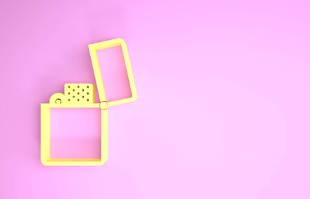 Yellow Lighter icon isolated on pink background. Minimalism concept. 3d illustration 3D render Foto de archivo - 134593991