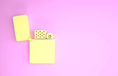 Yellow Lighter icon isolated on pink background. Minimalism concept. 3d illustration 3D render Foto de archivo - 134593993