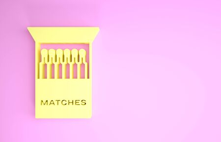 Yellow Open matchbox and matches icon isolated on pink background. Minimalism concept. 3d illustration 3D render