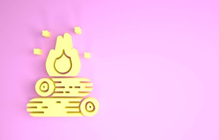 Yellow Campfire icon isolated on pink background. Burning bonfire with wood. Minimalism concept. 3d illustration 3D render