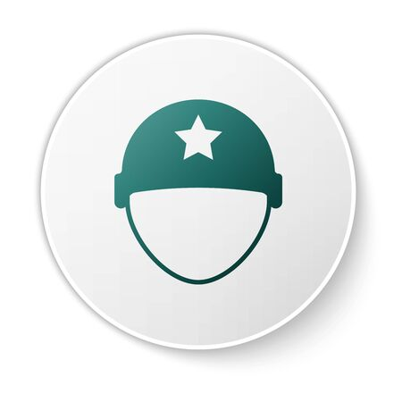 Green Military helmet icon isolated on white background. Army hat symbol of defense and protect. Protective hat. White circle button. Vector Illustration Ilustração