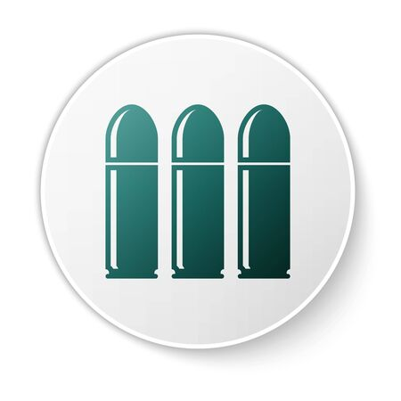 Green Bullet icon isolated on white background. White circle button. Vector Illustration Illustration