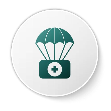 Green Parachute with first aid kit icon isolated on white background. Medical insurance. White circle button. Vector Illustration Zdjęcie Seryjne - 134617357