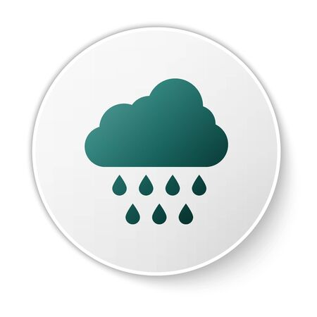 Green Cloud with rain icon isolated on white background. Rain cloud precipitation with rain drops. White circle button. Vector Illustration