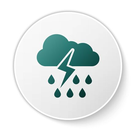 Green Cloud with rain and lightning icon isolated on white background. Rain cloud precipitation with rain drops.Weather icon of storm. White circle button. Vector Illustration