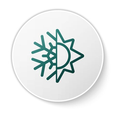 Green Hot and cold symbol. Sun and snowflake icon isolated on white background. Winter and summer symbol. White circle button. Vector Illustration