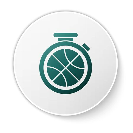 Green Stopwatch with basketball ball inside icon isolated on white background. Basketball time. Sport and training. White circle button. Vector Illustration Stok Fotoğraf - 134636773