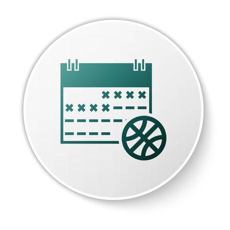 Green Basketball on sport calendar icon isolated on white background. White circle button. Vector Illustration Stok Fotoğraf - 134617381