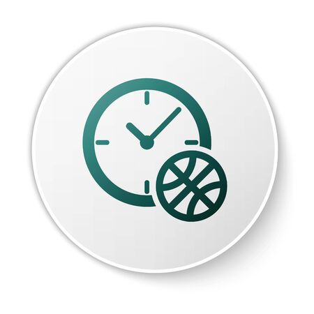Green Clock with basketball ball inside icon isolated on white background. Basketball time. Sport and training. White circle button. Vector Illustration