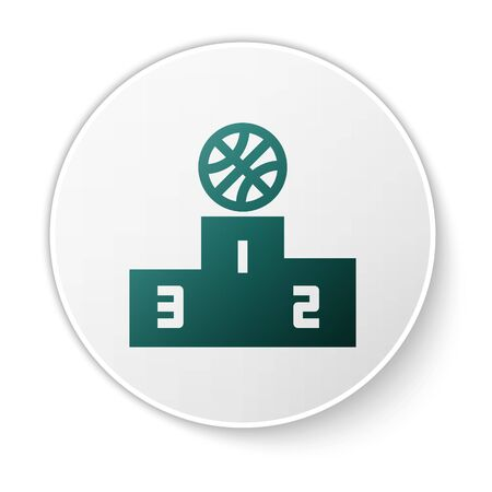 Green Basketball over sports winner podium icon isolated on white background. White circle button. Vector Illustration